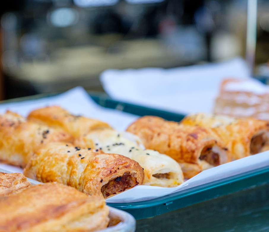 Close up of sausage rolls
